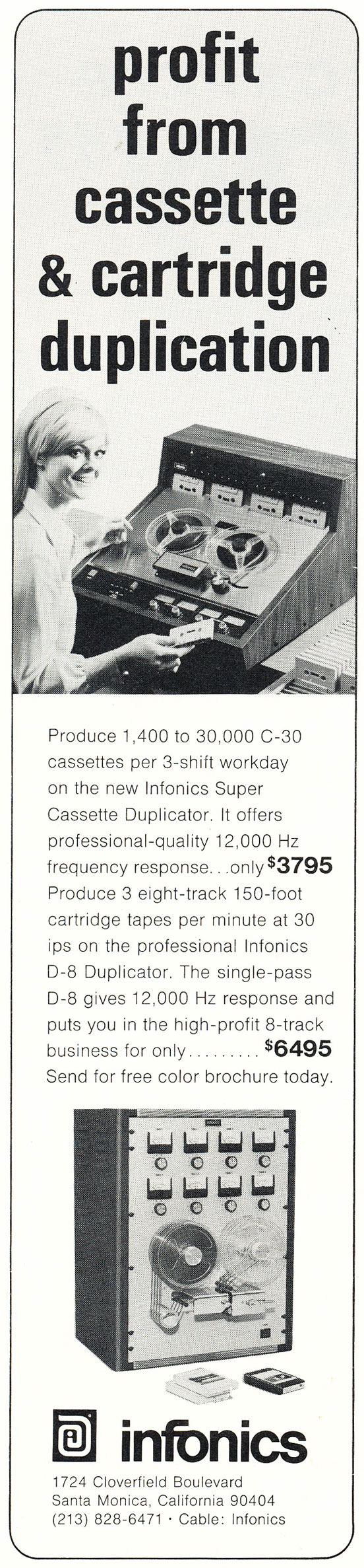 1971 Infonics ad in Reel2ReelTexas.com's vintage recording collection