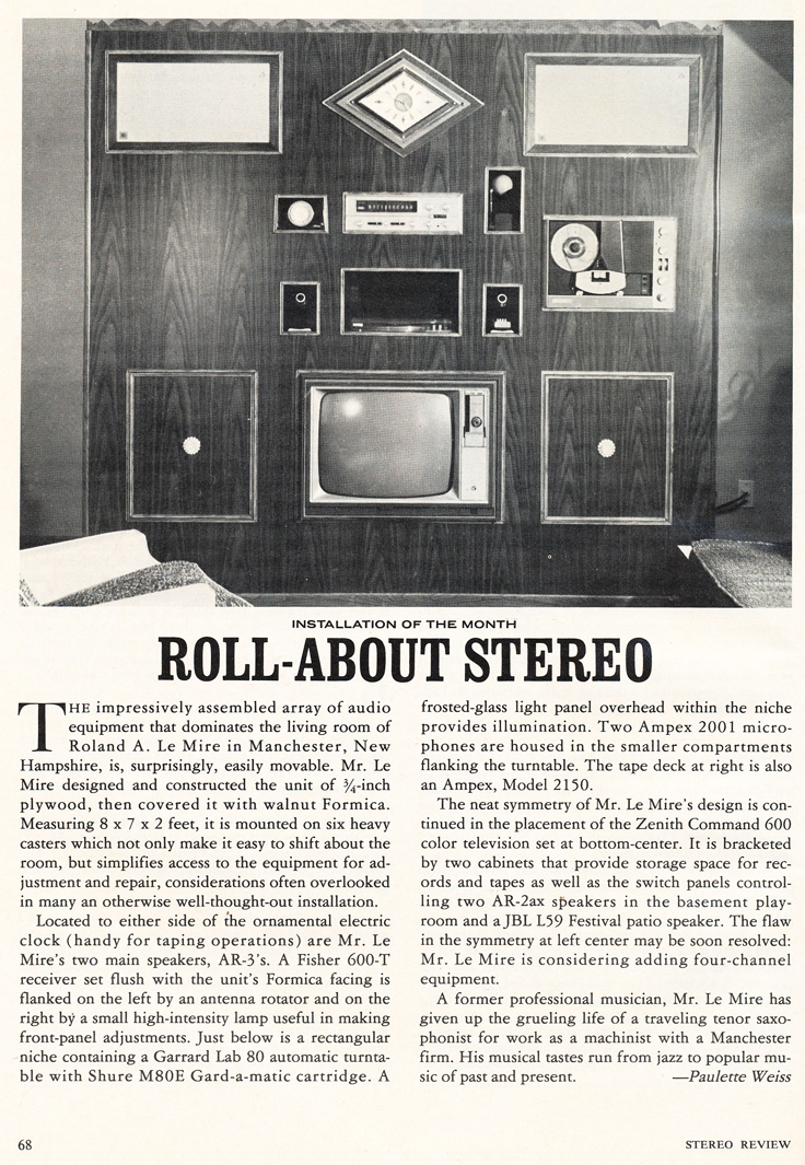 1971 article about an installation that includes the Ampex 2050 reel to reel tape recorder