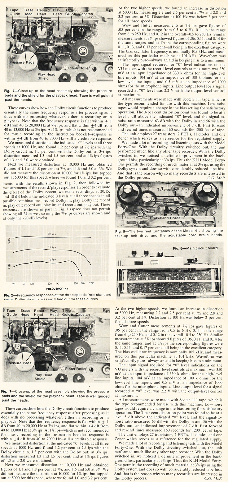 1971 review of the KLH Model 41 reel to reel tape recorder in Reel2ReelTexas.com's vintage recording collection