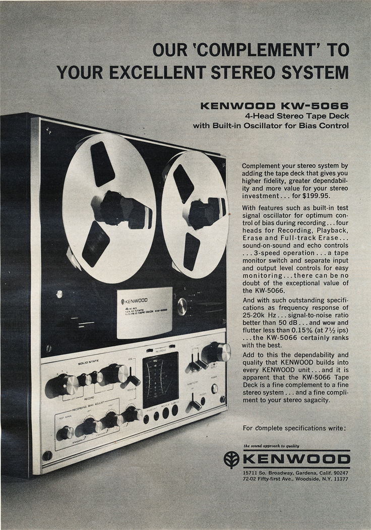 1971 ad for the Kenwood KW-6044  reel to reel tape recorder in Reel2ReelTexas.com's vintage recording collection