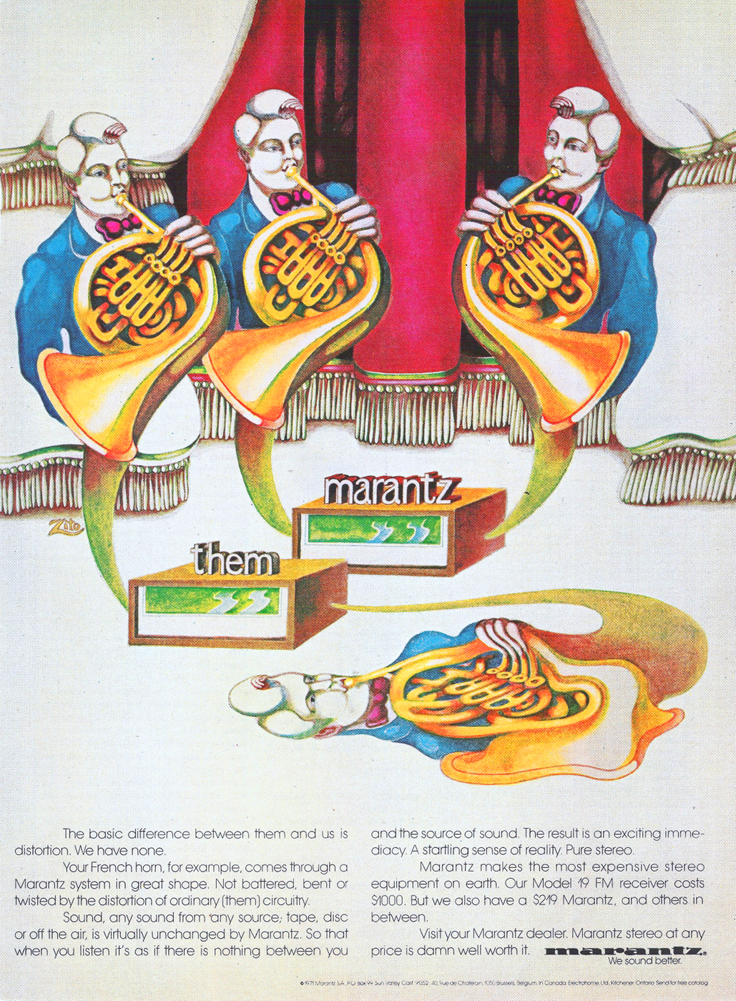 1971 ad for Marantz audio products in Reel2ReelTexas.com's vintage recording collection