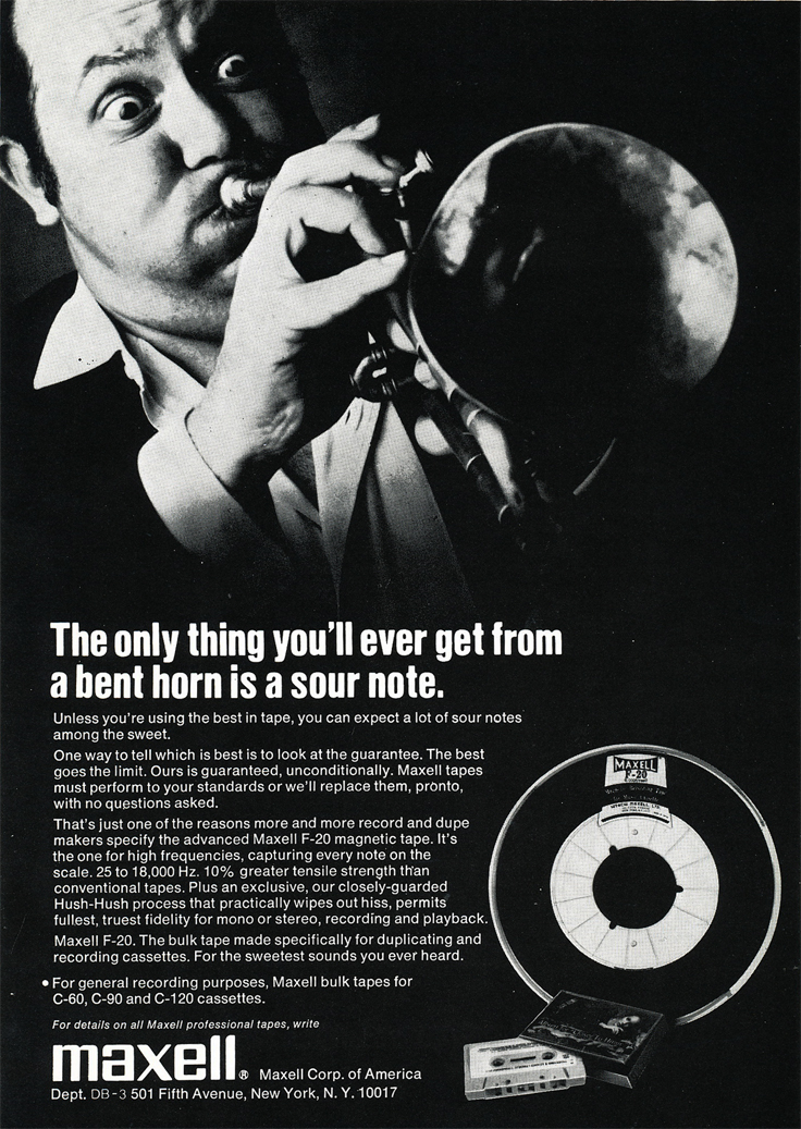 1971 ad for Maxell reel to reel recording tape in the Reel2ReelTexas.com's vintage recording collection