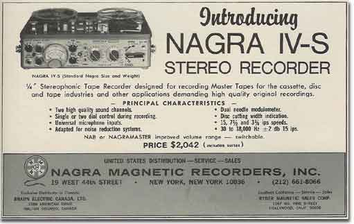 picture of 1971 Nagra recorder ad