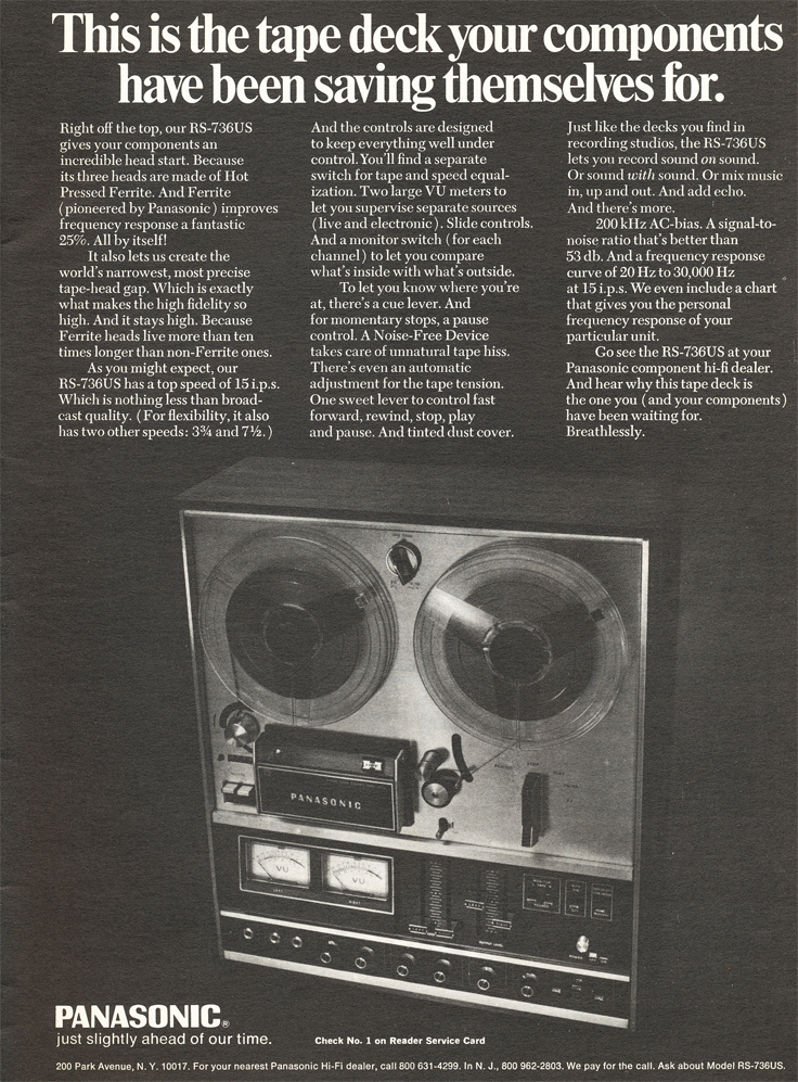 1971 ad for the Panasonic RS-736US reel to reel tape recorder in Reel2ReelTexas.com's vintage recording collection