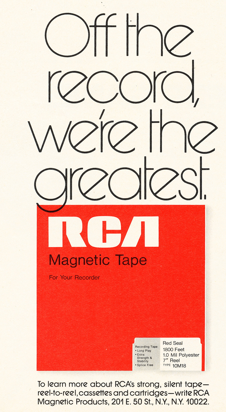 1971 ad for RCA reel to reel recording tape in Reel2ReelTexas.com's vintage recording collection