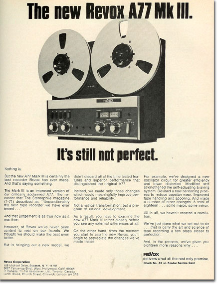 picture of 1971 ReVoxA77 tape recorder ad