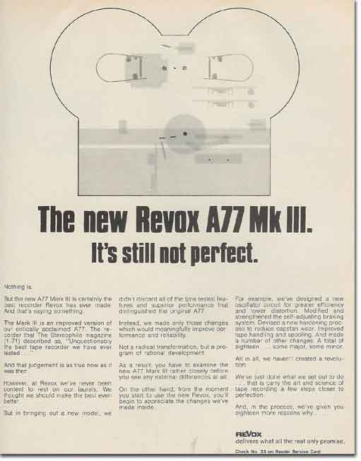 picture of 1971 ReVox recorder ad