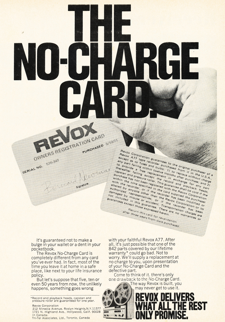 1971 ad for the Revox  reel tape recorders in Reel2ReelTexas.com's vintage recording collection