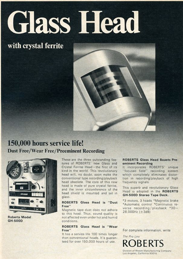 1971 Ad for the Roberts GH-500D reel tape recorder in   Reel2ReelTexas.com's vintage recording collection