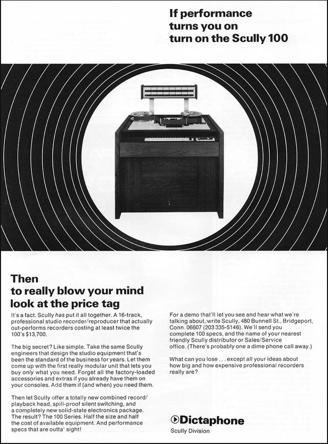 1971 ad for the Scully 100 professional reel to reel tape recorder in Reel2ReelTexas.com's vintage recording collection