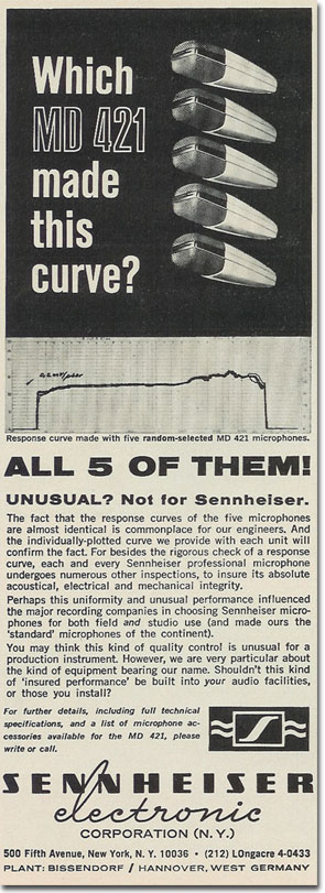 picture of 1971 Sennheiser microphone ad