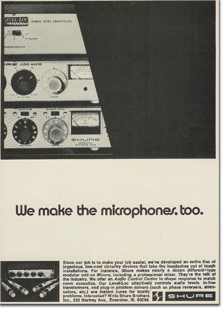 picture of 1971 Shure microphone mixer ad