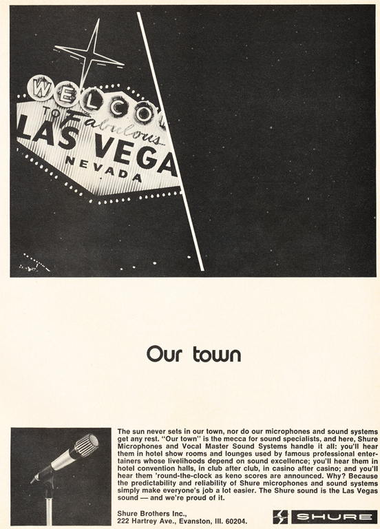 1971 ad for Shure microphones being used in Las Vegas in Reel2ReelTexas.com's vintage recording collection