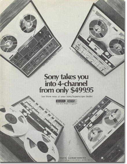picture of 1971 Sony tape recorder ad