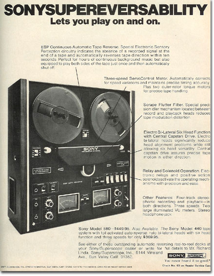 picture of 1971 Sony 580 tape recorder ad