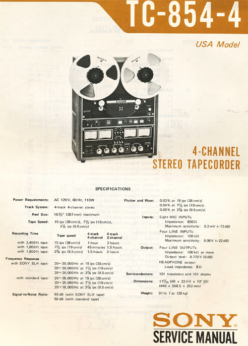 1971 Sony TC-854-4 4 Channel Stereo Tapecorder Service Manual page showing specifications in Reel2ReelTexas.com vintage reel to reel tape recorder collection