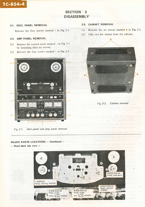 1971 Sony TC-854-4 4 Channel Stereo Tapecorder Service Manual page showing disassembly instructions in Reel2ReelTexas.com vintage reel to reel tape recorder collection