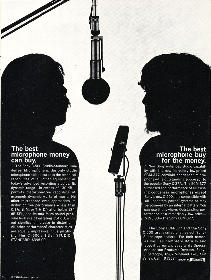 1971 ad for the Sony C-500 and EMC 337 in Reel2ReelTexas.com's vintage recording collection