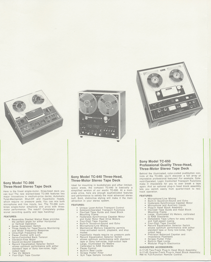 1971 Sony tape recorder catalog in Reel2ReelTexas.com's vintage reel tape recorder collection