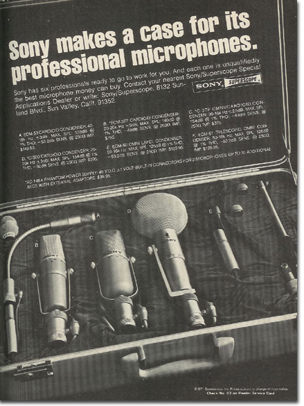 picture of 1971Sony microphone ad