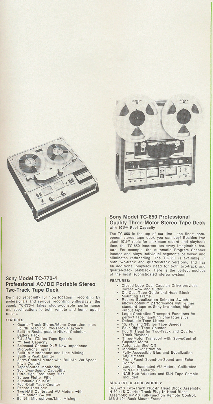 Sony TC-770 and TC-850 in 1971 Sony tape recorder catalog in Reel2ReelTexas.com's vintage reel tape recorder collection