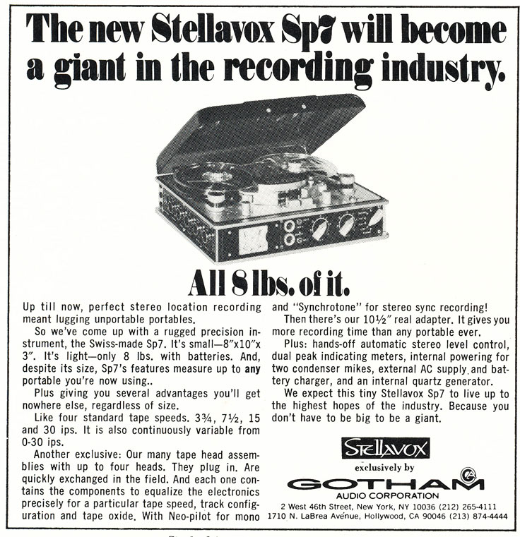 1971 ad for Stellavox SP7 reel tape recorder in Reel2ReelTexas.com's vintage recording collection