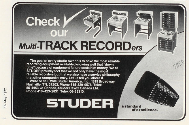 picture of 1971 Studer ad in Phantom's vintage reel to reel recording collection