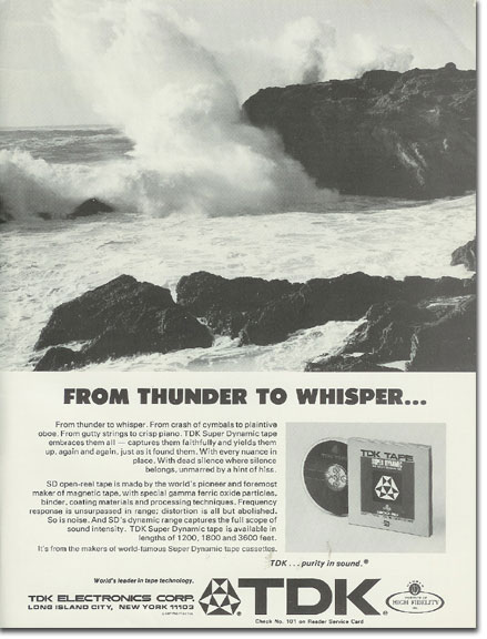picture of 1971TDK recording tape ad