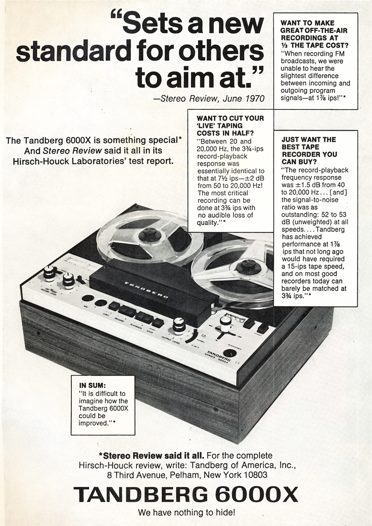 1971 ad for the Tandberg 6000X reel to reel tape recorder in Reel2ReelTexas.com's vintage recording collection