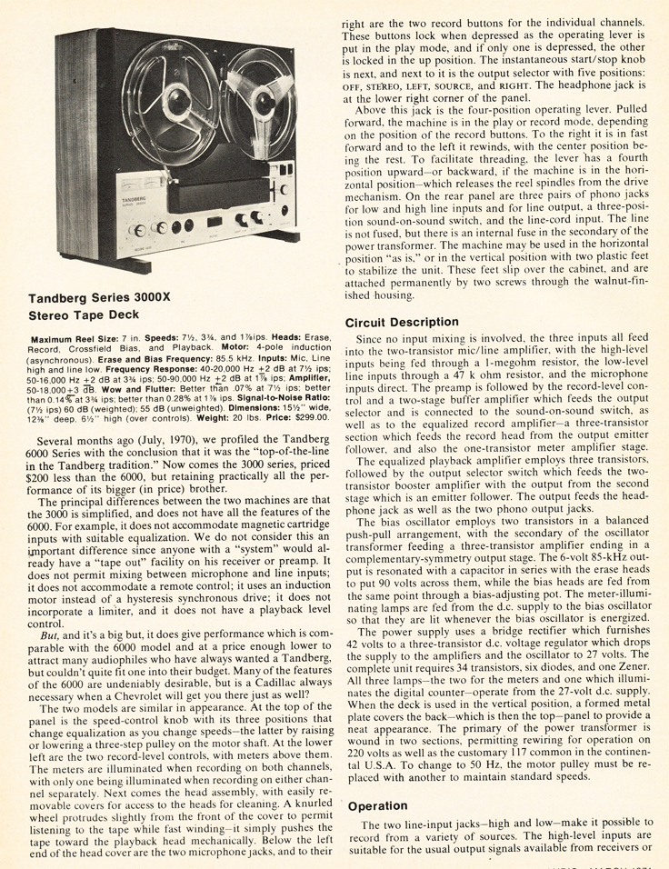 1971 review of the Tandberg 3000X reel to reel tape recorder in Reel2ReelTexas.com's vintage recording collection