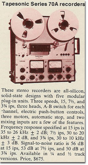 picture of 1971 Tapesonic tape recorder ad