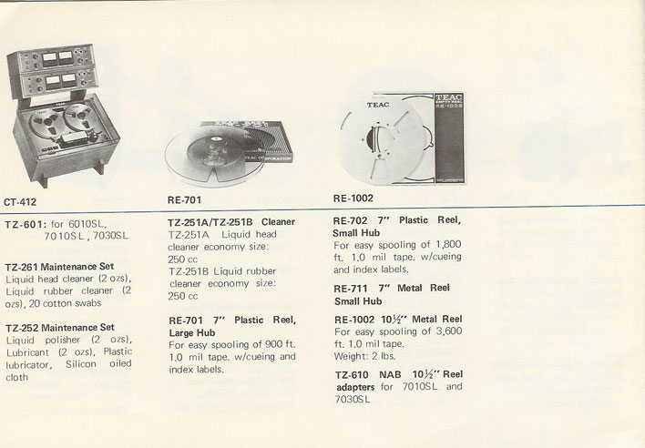 pictures from 1971 Teac brochure in Phantom's reel to reel collection