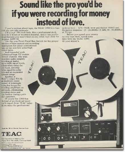picture of 1971 Teac 3300 recorder ad