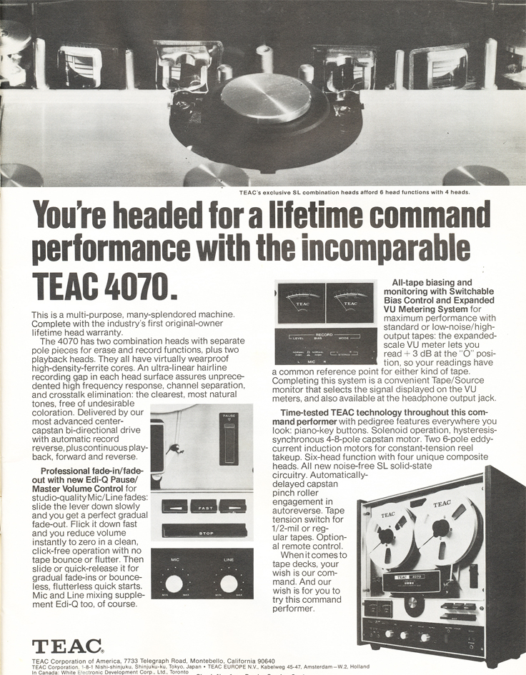 1971 ad for the Teac A-4070 reel tape recorder in Reel2ReelTexas.com's vintage recording collection