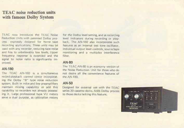 1971 Listing of Teac Dolby noise reduction systems in Reel2ReelTexas.com's vintage recording collection