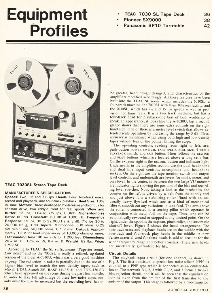 1971 review of the Teac A-7030 reel tape recorder in Reel2ReelTexas.com's vintage recording collection