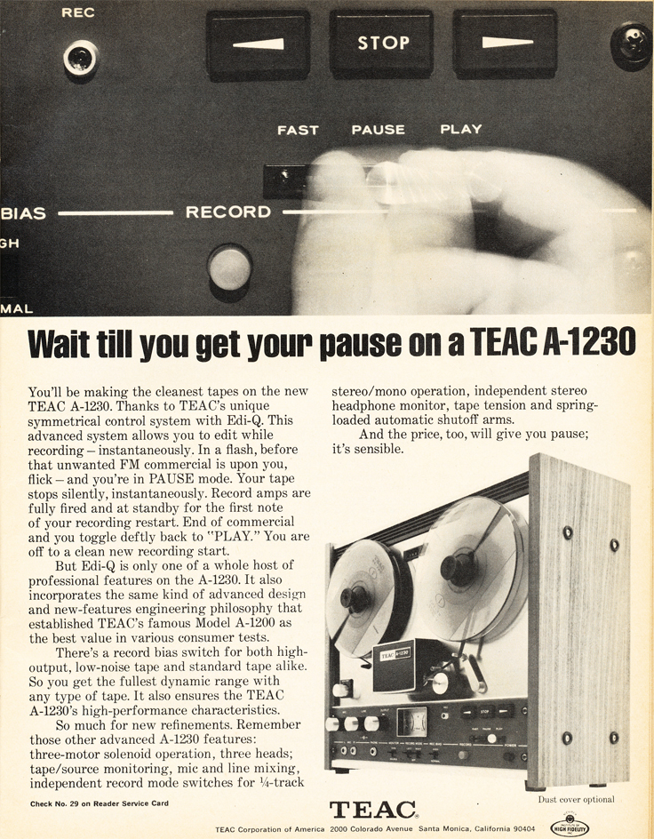 1971 ad for the Teac A-1230 reel tape recorder in Reel2ReelTexas.com's vintage recording collection