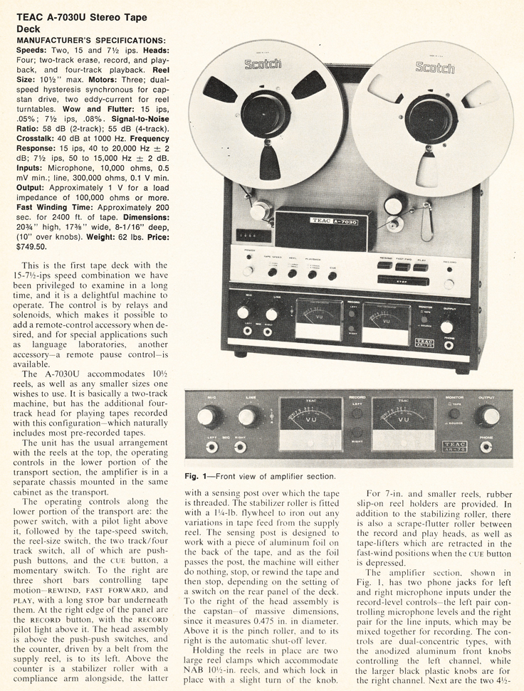 1971 review of the Teac A-7030U reel to reel tape recorder in Reel2ReelTexas.com's vintage recording collection