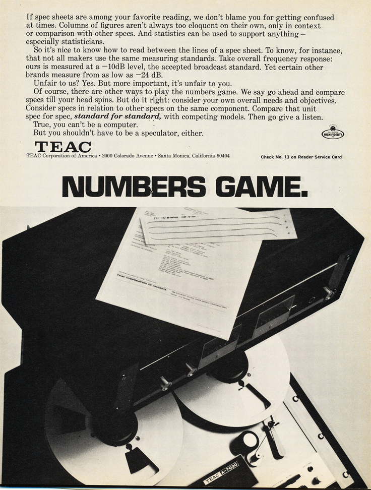 1971 ad for the Teac A-7030 reel tape recorder in Reel2ReelTexas.com's vintage recording collection