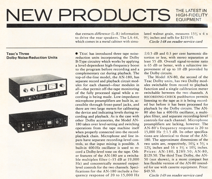 1971 Teac review of Dolby Noise reduction units in Reel2ReelTexas.com's vintage recording collection