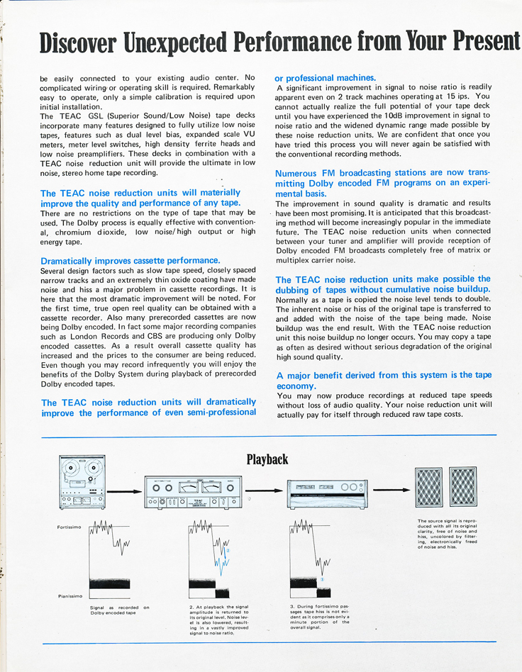 1971 Teac brochure profiling the AN-180, AN-80 and the AN-60 Dolby Noise reduction units in Reel2ReelTexas.com's vintage recording collection