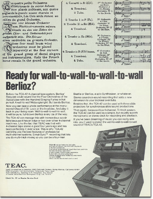 picture of 1971 Teac tape recorder ad