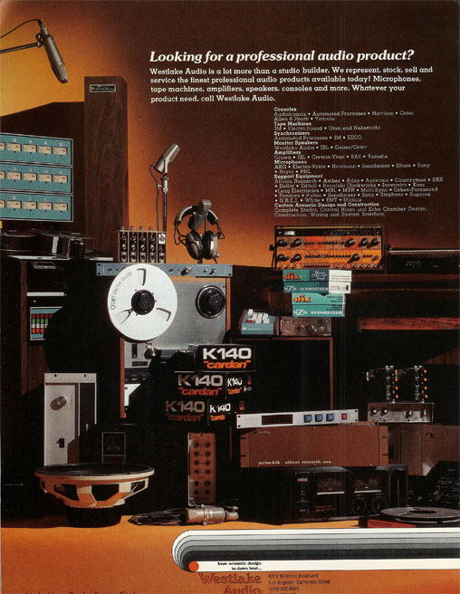 picture of 1971 Westlake Audio ad in Phantom's vintage reel to reel recording collection