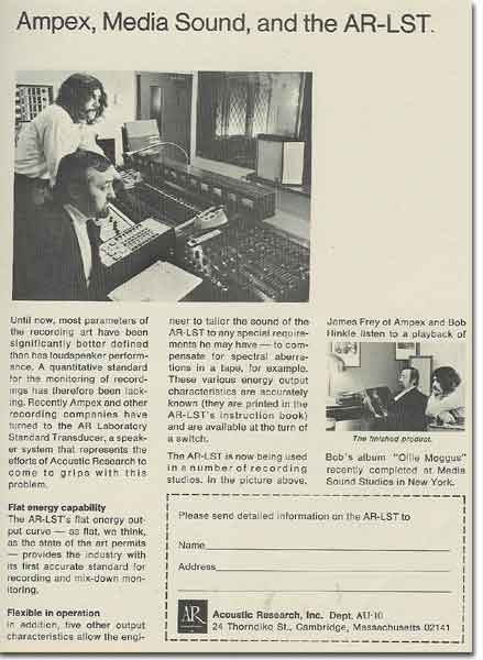 1972 ad for AR and Ampex