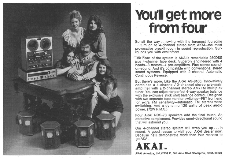 1972 ad for Akai 280DSS reel to reel tape recorder in Reel2ReelTexas.com's vintage recording collection
