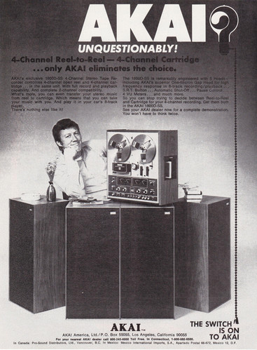 1972 ad for Akai 4 channel reel to reel tape recorders in Reel2ReelTexas.com's vintage recording collection