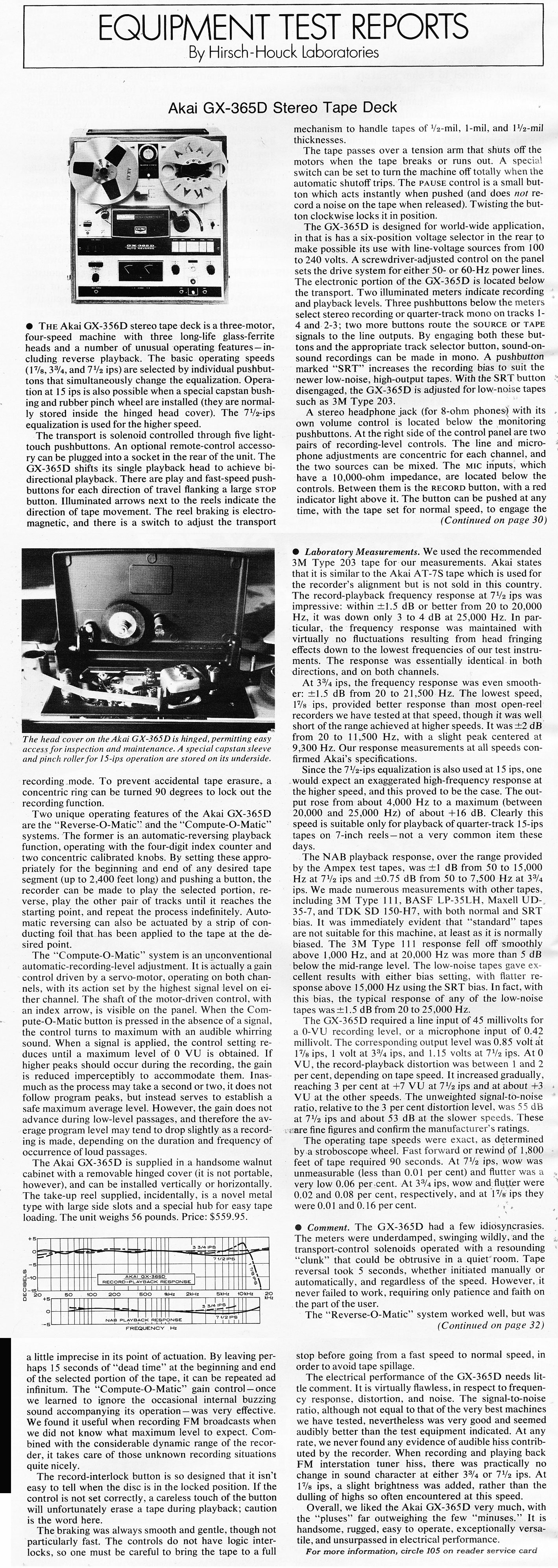 1972 review of the Akai GX-365D  reel to reel tape recorder  in the Reel2ReelTexas.com vintage recording collection