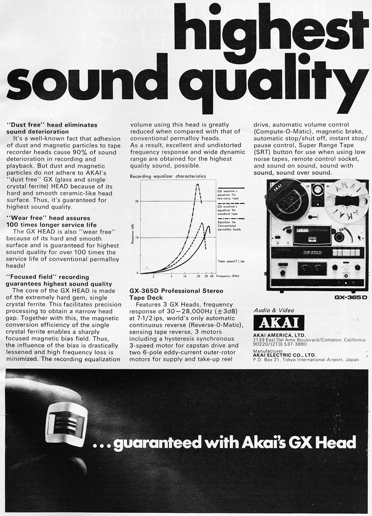 1972 ad for the Akai reel to reel tape recorder heads in the Reel2ReelTexas.com vintage recording collection