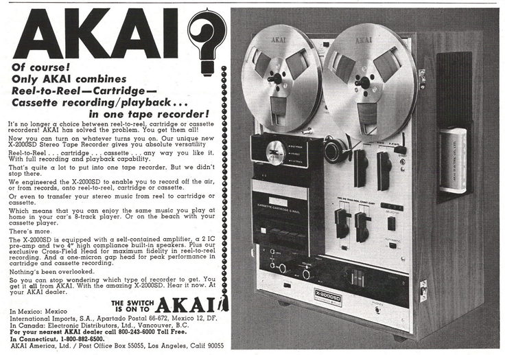 1972 ad for Akai X2000D 8 track, cassette and  reel to reel tape recorders in Reel2ReelTexas.com's vintage recording collection