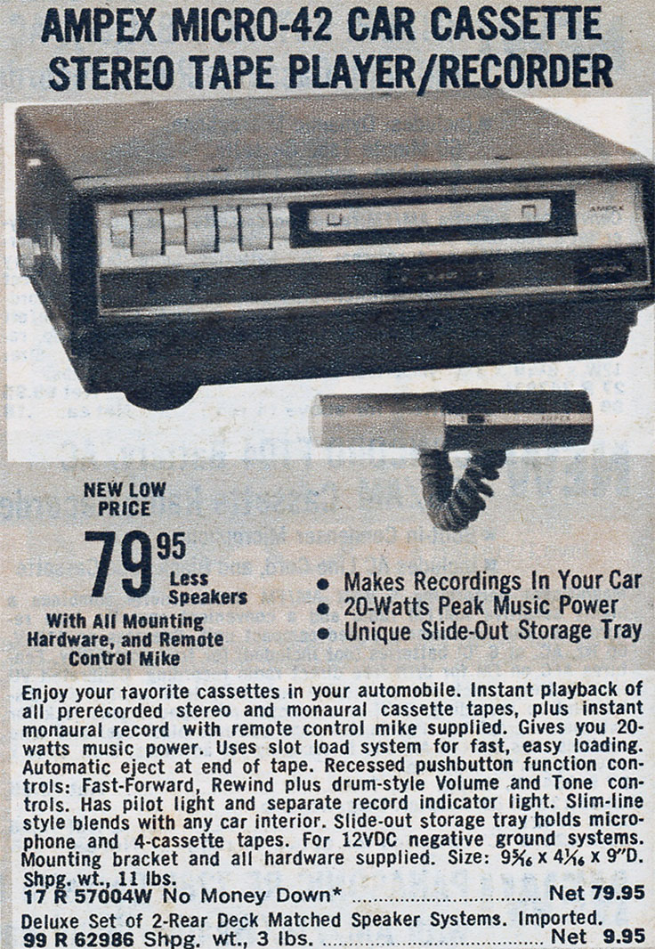 1972 Ampex Micro-42 auto cassette recorder ad in the Lafafayette Radio catalog in the Reel2ReelTexas.com vintage recording collection